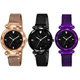 TIMESOON Analogue Girls' Watch (Black Dial Black, Purple & Copper Colored Strap) (Pack of 3)