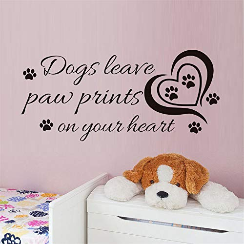 zzlfn3lv Herz Hunde verlassen Paw Prints auf Ihrem Herzen Wandaufkleber Für Kinderzimmer Kreative Zitate Vinyl Wandkunst Aufkleber Home Decoration59 * 27 cm -
