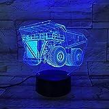 Luci notturne a LED 3D Riflettore Torcia per veicoli blindati Luci per trattore Decorazioni per camera da letto per bambini Illuminazione per bambini Regali di Natale per le vacanze di Abajur