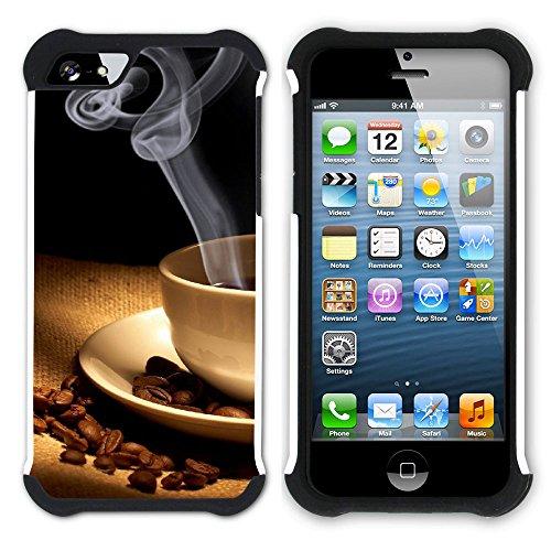 Graphic4You Kaffee Tasse Koffein Hart + Weiche Kratzfeste Hülle Case Schale Tasche Schutzhülle für Apple iPhone SE / 5 / 5S Design #3