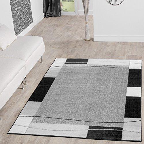Alfombra de diseño moderno, color gris y negro, 160 x 220 cm