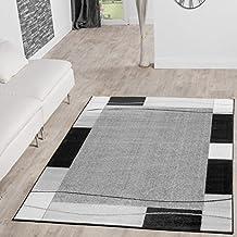 Teppich Gnstig Bordre Design Modern Wohnzimmerteppich Grau Schwarz Top Preis