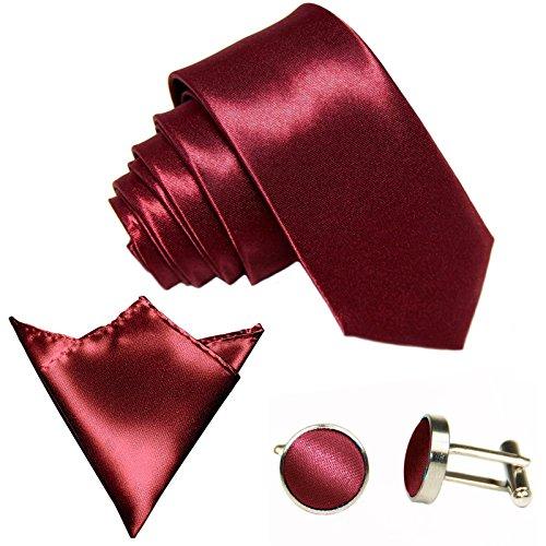 3-SET Wein-Rot Bordeaux Krawatte moderne Breite 8,5cm Binder Manschettenknöpfe Einstecktuch Satin Seide-Optik Hochzeitskrawatte
