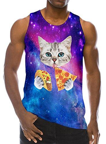 Chicolife 3D Pizza Impresión del Gato Divertido Patrón Realista de Underwaist Gimnasio Tapas del Tanque Hombres Pequeño