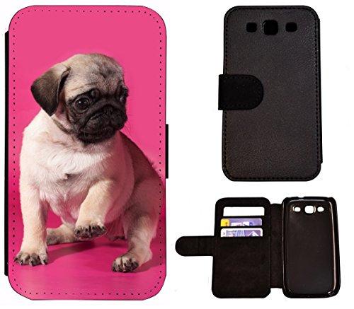 Flip Cover Schutz Hülle Handy Tasche Etui Case für (Apple iPhone 6 / 6s, 1549 Mops Welpe Hund Pink Braun) 1549 Mops Welpe Hund Pink Braun