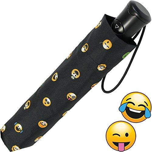 Emoticon Taschenschirm bedruckt smile mit Auf-Automatik - black-allover