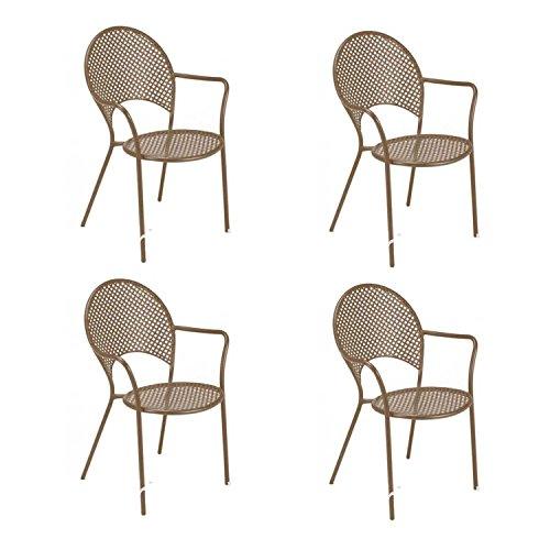 EMU Oferta 4sillones Sol Apilable Marrón India Muebles de jardín Contract