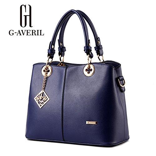 (G-AVERIL)Donne Boutique moderno ed elegante maniglia superiore borsa del messaggero della borsa della spalla del Tote casuale del lavoro Bauletto Rosso blu11