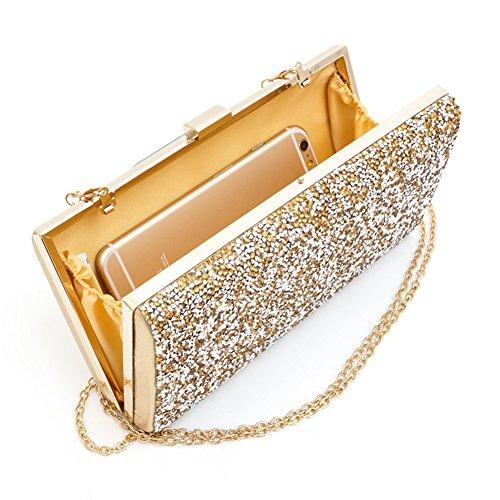 Bling Strass Abend Party Dinner Taschen Clutch Prom Crossbody Chain Wristlet Gold