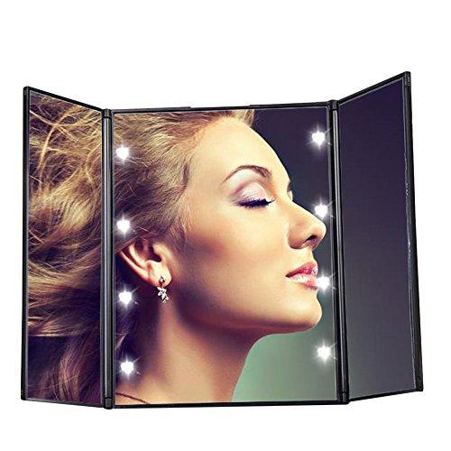 Pingenaneer Tri-Fold Travel Makeup Mirror Specchio Cosmetico con 8 LED Llluminazione Ideale per Viaggio, Rasatura, Trucco(Nero)