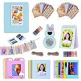 Boogooa 64 Bolsillos Accesorios de álbum de para Fujifilm Instax Mini 9/8 8 + /7S /50S / 25 Cámara instantánea con Marco Colgante/Espejo para autorretrato/Marco de Fotos Creativo (Azul Hielo)
