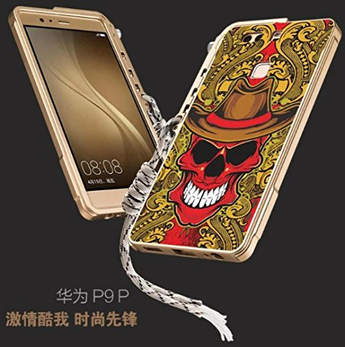huawei-p9-warrior-shell-tough-aviation-aluminum-metal-frame-bumper-arm-hanging-sling-cover-cool-skul