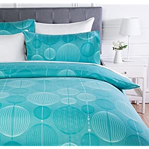AmazonBasics Microfiber Duvet Cover Set - 230 x 220 cm, King - Industrial Teal