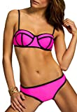 CASPAR BIK003 Damen Bandage Triangel Bikini Set Unicolor, Farbe:pink;Größe:40 L UK12 US10