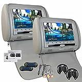 Universal-Paar Grau Kopfst¨¹tzen-Monitor 9 Zoll-Dual-DVD-Player mit LCD-Schirm-Unterst¨¹tzungs-IR-FM-Transmitter mit 2-Kanal Wireless-IR-Kopfh?rer