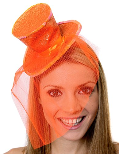I Love Fancy Dress ILFD2158-OR Mini Sombrero con Purpurina para Adultos, Talla única