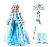 Größe 120 - 5 - 6 Jahre - Kostüm Elsa - Kapuze - Accessoires - Krone - Zauberstab - Handschuhe - Zopf - Mädchen - Blau - Kleid - Karneval - Halloween - Cosplay - Prinzessin - Frozen