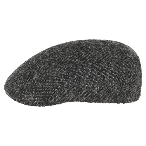 Stetson Casquette Madison Herringbone Homme - Made in The EU Gavroche Casquettes Newsboy avec Visiere, Doublure Printemps-ete - 55 cm Noir