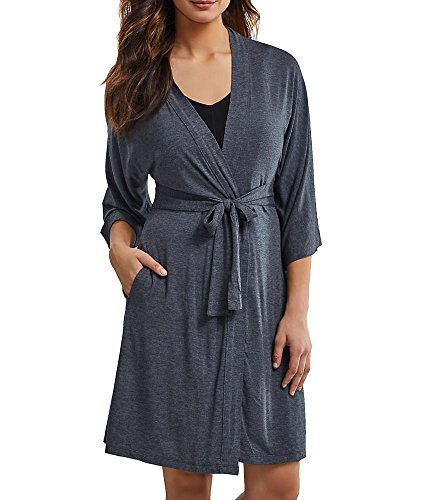 DKNY - Robe de chambre Femme - 7 Easy Pieces 3/4 Sleeve Robe Gris (Charcoal)