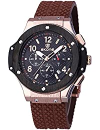 SKONE Quartz Mens Watch with Nail Number Scale and 3eye Function Dials Date Display (Coffee Black)