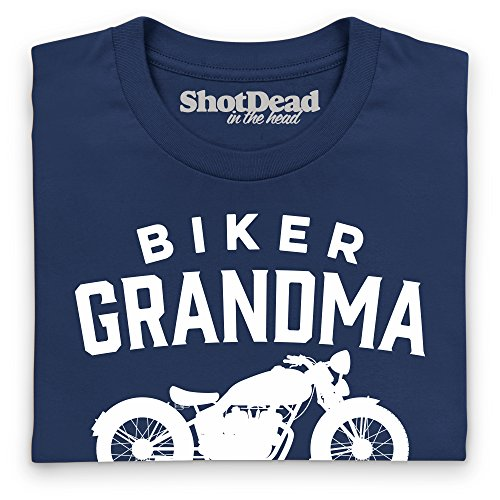Biker Grandma T-Shirt, Damen Dunkelblau