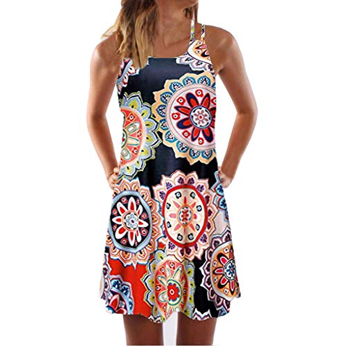e Damen Frauen Lose Vintage Sleeveless 34D Blumendruck Bohe Casual Täglichen Party Strand Urlaub Tank Short Mini Kleid ()