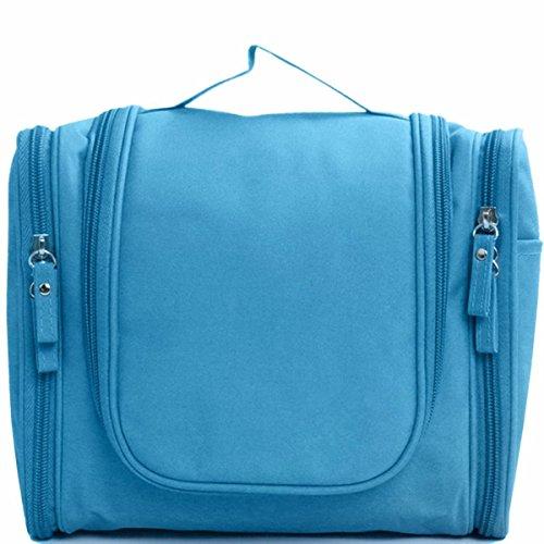 Sac à Cosmétiques Big Bag Sac de Lavage Qualité Sac de Toilette Suspendu Imperméable à l'eau de Toilette Pour Hommes et Femmes Sac de Voyage élégant Avec de Nombreuses Poches Bleu (Bleu)