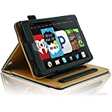 InventCase Amazon Fire HD 7 (7 inch HD Display - 4th Generation) Tablet 2014 Smart Multi-Functional PU Leather Book Case Cover with Sleep Wake Function - Black and Tan