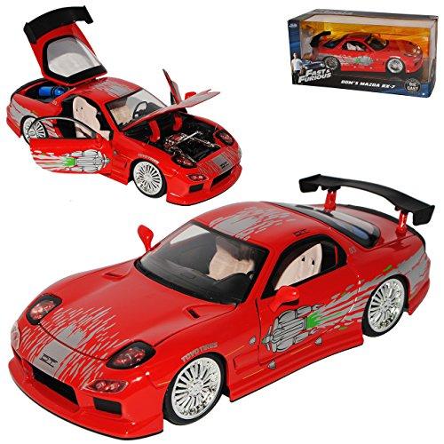 Jada Mazda RX7 Dom´s Dominik Toretto Rot 1991-2002 Fast & Furious 8 The Fast and The Furious 1/24 Modell Auto mit individiuellem Wunschkennzeichen - Sammlung Rote Lackierung