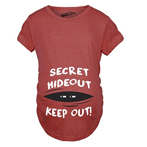 Crazy Dog Tshirts - Maternity Secret Hideout Baby Peeking Maternity Shirt Funny Pregnancy Shirts (Red) L - Damen - L