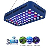 TOPLANET 165W WiFi Aquarium Beleuchtung LED Aquariumlicht Fernbedienung Aquarium Light Dimmable Aquarium Licht Dekoration Weiß/Blau/Moonlight Blue für Reef/Coral/ Pflanzen im Fisch Tank Meerwasser
