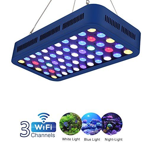 TOPLANET 165W WiFi Aquarium Beleuchtung LED Aquariumlicht Fernbedienung Aquarium Light Dimmable Aquarium Licht Dekoration Weiß/Blau/Moonlight Blue für Reef/Coral/Pflanzen im Fisch Tank Meerwasser