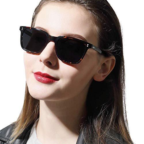 Carfia Polarisierte Damen Sonnenbrille UV400 Schutz Outdoor Brille für Autofahren Angeln Freizeit Acetat Rahmen (Eckiger Rahmen: Schildpatt; Linsen: Grau)