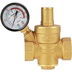 DN20 Vanne de réduction de pression d'eau réglable en laiton avec Manomètre Compteur de pression, Réducteur réglable de pression d'eau en laiton