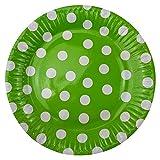 72 Pappteller Ø 23 cm - Bunt, gepunktet, rund, lebensmittelecht, beschichtet, je 12x blau, grün, gelb, pink, lila und rosa - 3