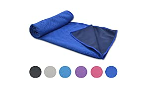 WHCREAT Cooling Towel for Instant Relief Ice Cold,100 x 30 cm,Quick Dry Towel Super absorbent microfibres Towel Use as Headband Bandana Scarf Wristband