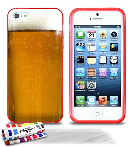 Ultraflache weiche Schutzhülle APPLE IPHONE 5S / IPHONE SE [Bier] [Lila] von MUZZANO + STIFT und MICROFASERTUCH MUZZANO® GRATIS - Das ULTIMATIVE, ELEGANTE UND LANGLEBIGE Schutz-Case für Ihr APPLE IPHO Rot + 3 Displayschutzfolien
