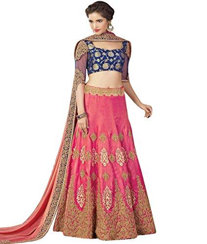 Indian Ethnicwear Bollywood Pakistani Wedding Pink Flare Lehenga Semi-stitched
