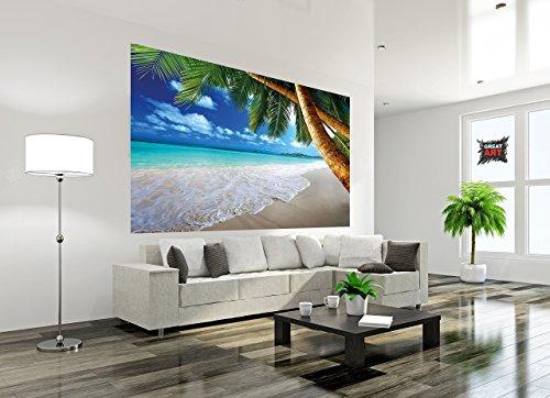 Poster fotografico spiaggia di palme Murales Decorazione spiaggia da sogno ai Caraibi Baia Paradiso naturale Isola con palme ai Tropici | Murales Decorazione da parete by GREAT ART (210x140 cm)