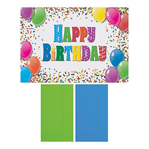 HOFFMASTER 856784Happy Birthday-Tisch-Sets und Serviette Combo Pack, Einweg, (jeder Fall Hat 250Platzsets, und 250Servietten) (500Stück) -