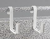Menz Blumenkastenhalter, 2 Paar, weiß, für Rohrgeländer (max. Durchmesser 5 cm), für Blumenkästen verstellbar von 12 bis 16 cm Breite - Kostenlose Lieferung