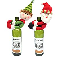 MSQŽ 2pcs Christmas Wine Bottle Cover Ornament Novelty Decoration Snowman Santa Clause Hug Bottle Christmas Xmas Gift Party Table Tree Decoration (Red+Green)