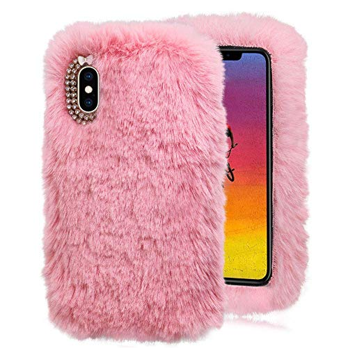 Hunpta@ Handy HüLle FüR iPhone XS Max 6.5Inch Luxus Kristall Bling Case Winter Warm Flauschigen Villi PlüSch Wolle Bling Case HüLle (Rosa)