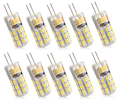 10 x G4 LED Lampe 2.5W, 24 X 2835 SMD, 180LM, Ersatz für 20W Halogenlampen, 12V AC/DC Warmweiß 3000K,360 Grad, LED Birnen, LED Leuchtmittel,Nicht Dimmbar-10 Pack - 20w 12 Grad Spot
