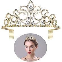 ULTNICE Boda Tiara novia princesa corona cristal Strass diadema para fiesta boda fiesta oro