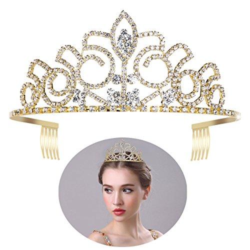 ULTNICE Hochzeit Tiara Braut Prinzessin Krone Crystal Strass Stirnband für Ball Hochzeit Party Gold