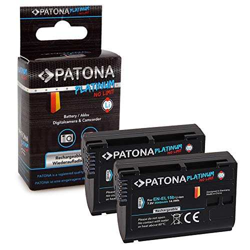 PATONA 2X Platinum Akku wie EN-EL15b 2040mAh passend für Nikon D7000 D7100 D600 D800 D850, in zuverlässiger und geprüfter Qualität - D500 Li-ionen-akku
