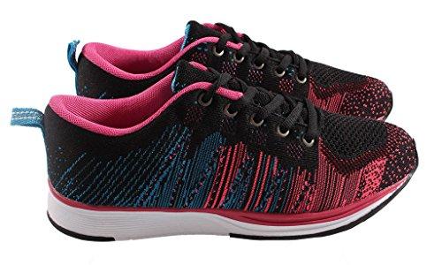 TrendStar Femmes Pompes Chaussures Formateurs Dames Appartements Plimsoll Baskets À Lacets En Toile Taille De Salle De Gym Noir/Fuchsia/Bleu