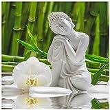 levandeo Glasbild 30x30cm Weiße Orchidee Bambus Buddha Wandbild Wanddeko Wellness Dekoration