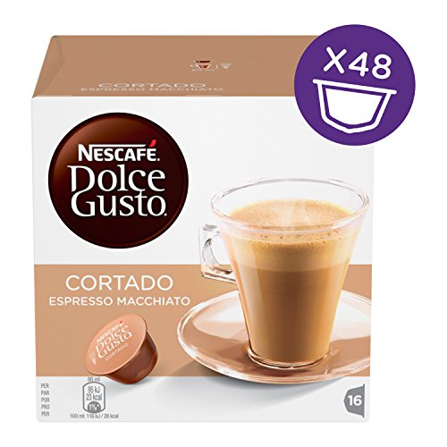 Choose Nescafe Dolce Gusto Cortado Espresso Macchiato (Pack of 3, Total 48 Capsules, 48 servings) by Nescafé Dolce Gusto